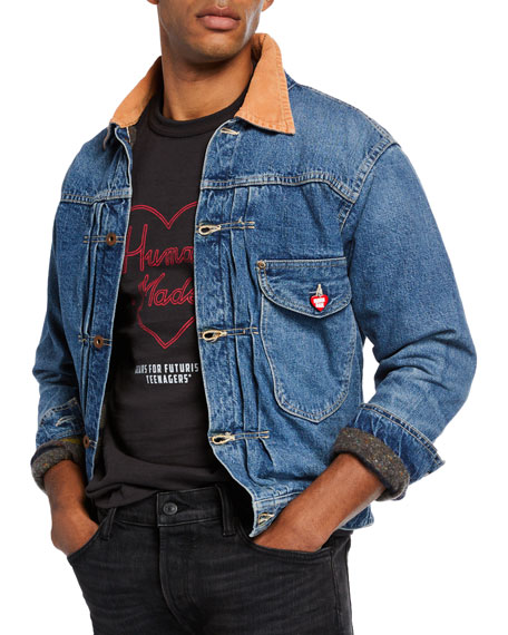 HUMAN MADE Men's Corduroy-Trim Lined Denim Jacket