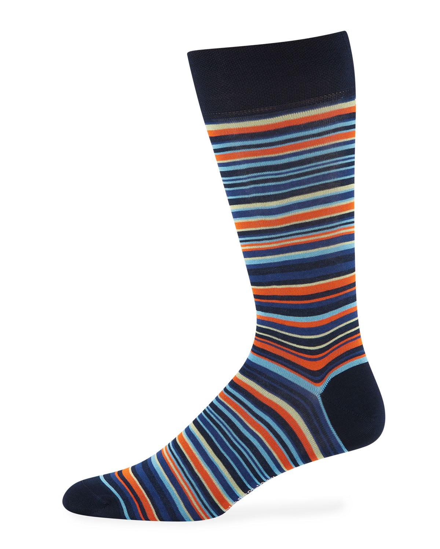 Marcoliani Men's Sorrento Stripe Cotton Socks