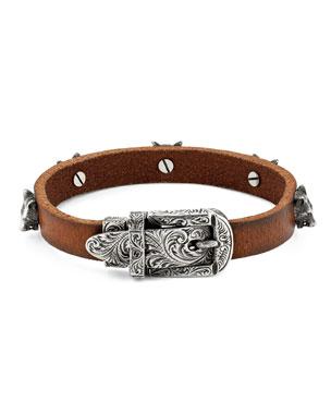 0f2948a5f Gucci Men's Feline Head Leather Buckle Bracelet