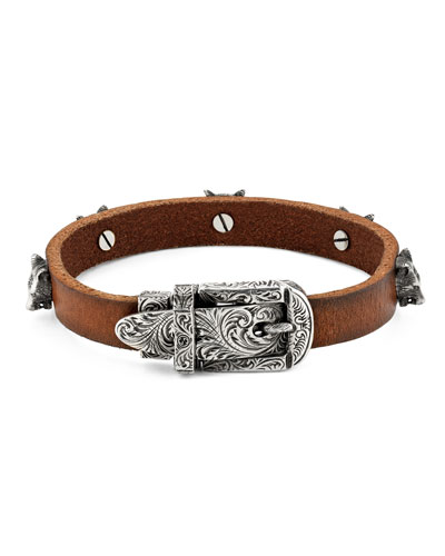 Men's Feline Head Leather Buckle Bracelet