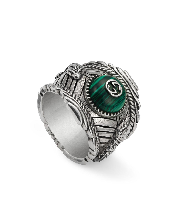 378f21960 Gucci Men's Feline Head Green Resin Ring, Size 7 | Neiman Marcus
