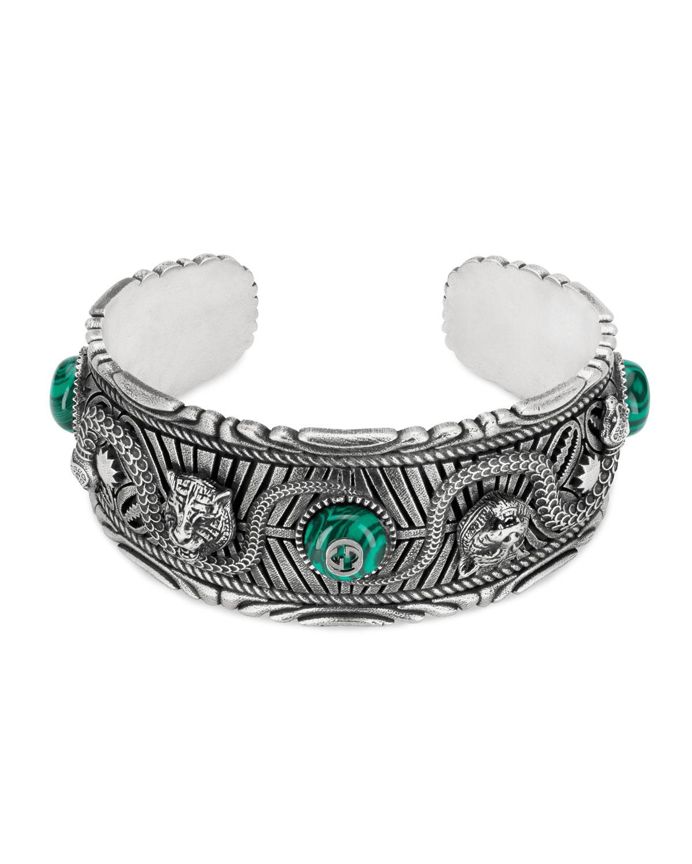c7a4b73ed8b Gucci Men s Feline Head Cuff Bracelet with Green Resin