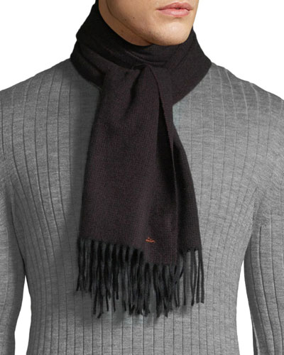 Men's Multi-Stripe Wool Herringbone Scarf