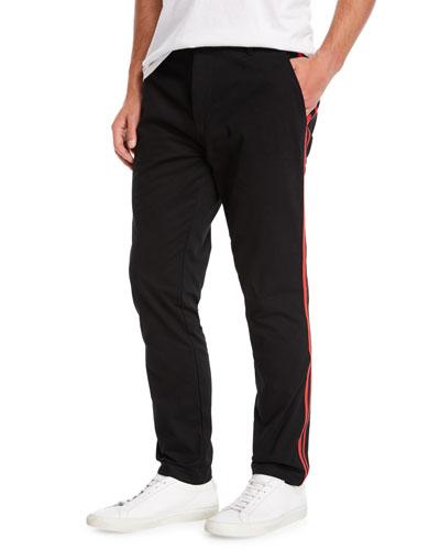 Men's Side-Stripe Chino Track Pants
