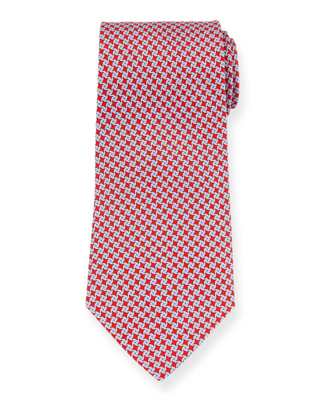 Salvatore Ferragamo Girella Diamond Silk Tie, Red
