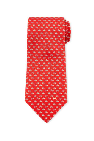 Salvatore Ferragamo Gaudio Turtles Silk Tie, Red