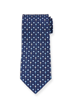 Salvatore Ferragamo Gullive Hot Air Balloon Silk Tie, Blue