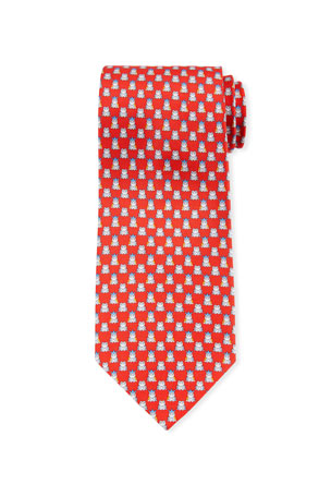 Salvatore Ferragamo George Frog Prince Silk Tie, Red
