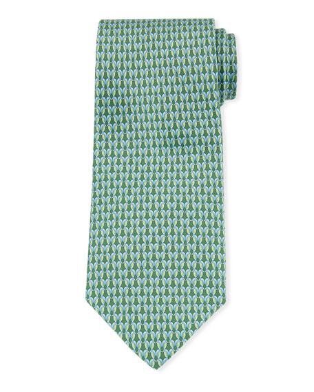 Salvatore Ferragamo Gemma Kissing Birds Silk Tie, Green