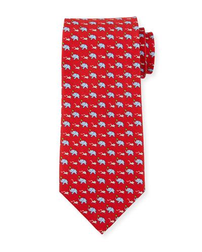 Gerry Elephants & Mice Silk Tie