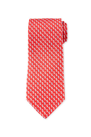 Salvatore Ferragamo Gaio Ducks Silk Tie, Red