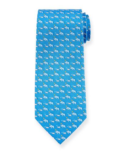 Elephants & Mice Silk Tie
