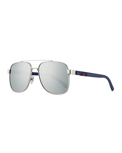 Men's Metal Aviator Sunglasses with Web Detail