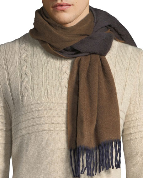 BEGG & CO Men'S Two-Tone Cashmere Scarf, Brown
