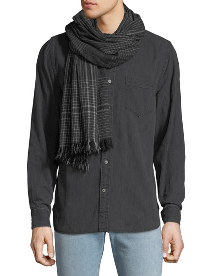 BEGG & CO Men'S Pin Check Cashmere Scarf in Charcoal