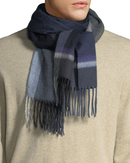 Begg & Co Men's Stack Check Cashmere Scarf