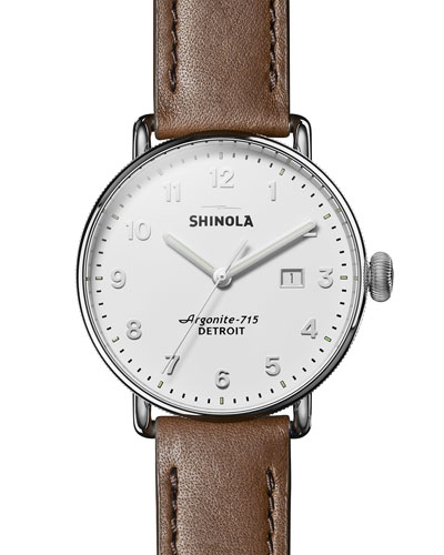 Men's 43mm Canfield 3HD Leather-Strap Watch