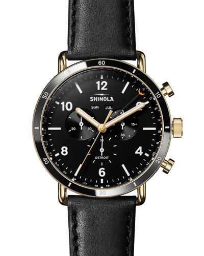 Men's 45mm Canfield Sport 3-Eye Chrono Watch w/ Leather Strap