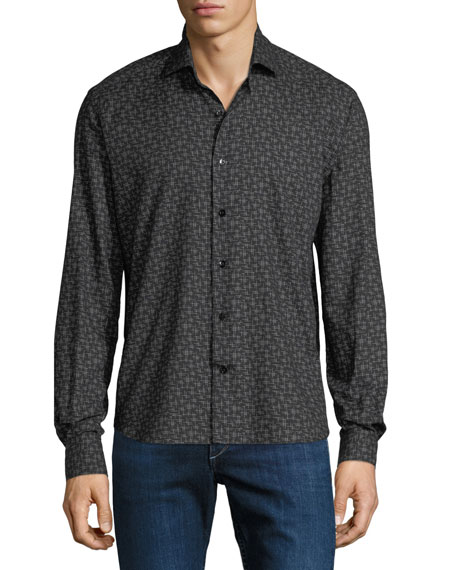 Culturata Men's Soft Touch Line-Print Sport Shirt
