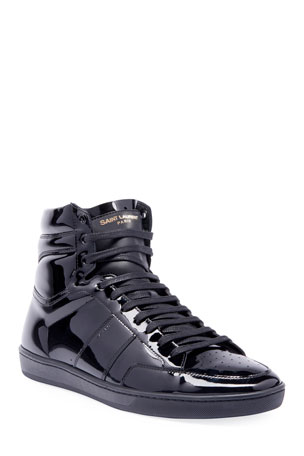 Saint Laurent Men's SL10H Patent Leather High-Top Sneakers