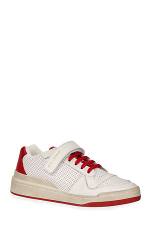 Saint Laurent Men's Travis Leather Grip-Strap Sneakers