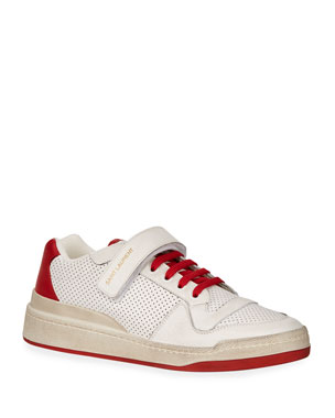 ec6545fb0e21 Saint Laurent Men s Travis Leather Grip-Strap Sneakers