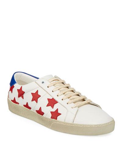 Men's Calfskin Leather Stars Low-Top Sneaker