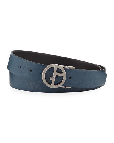Men's Reversible Logo-Buckle Vitello Belt, Steel Blue