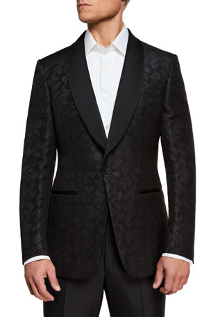 Ermenegildo Zegna Men's Tonal Jacquard Shawl-Lapel Dinner Jacket