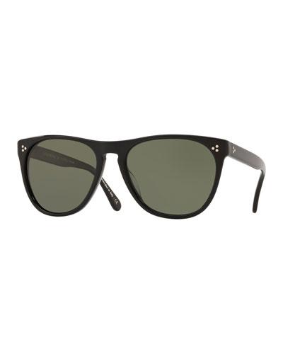 Men's Daddy B Square Acetate Polarized Sunglasses - Black