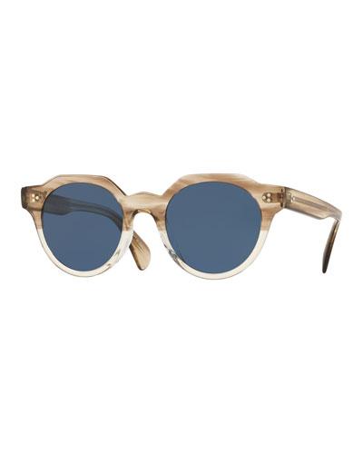 Men's Irven Faceted Round Acetate Sunglasses - Military VSB