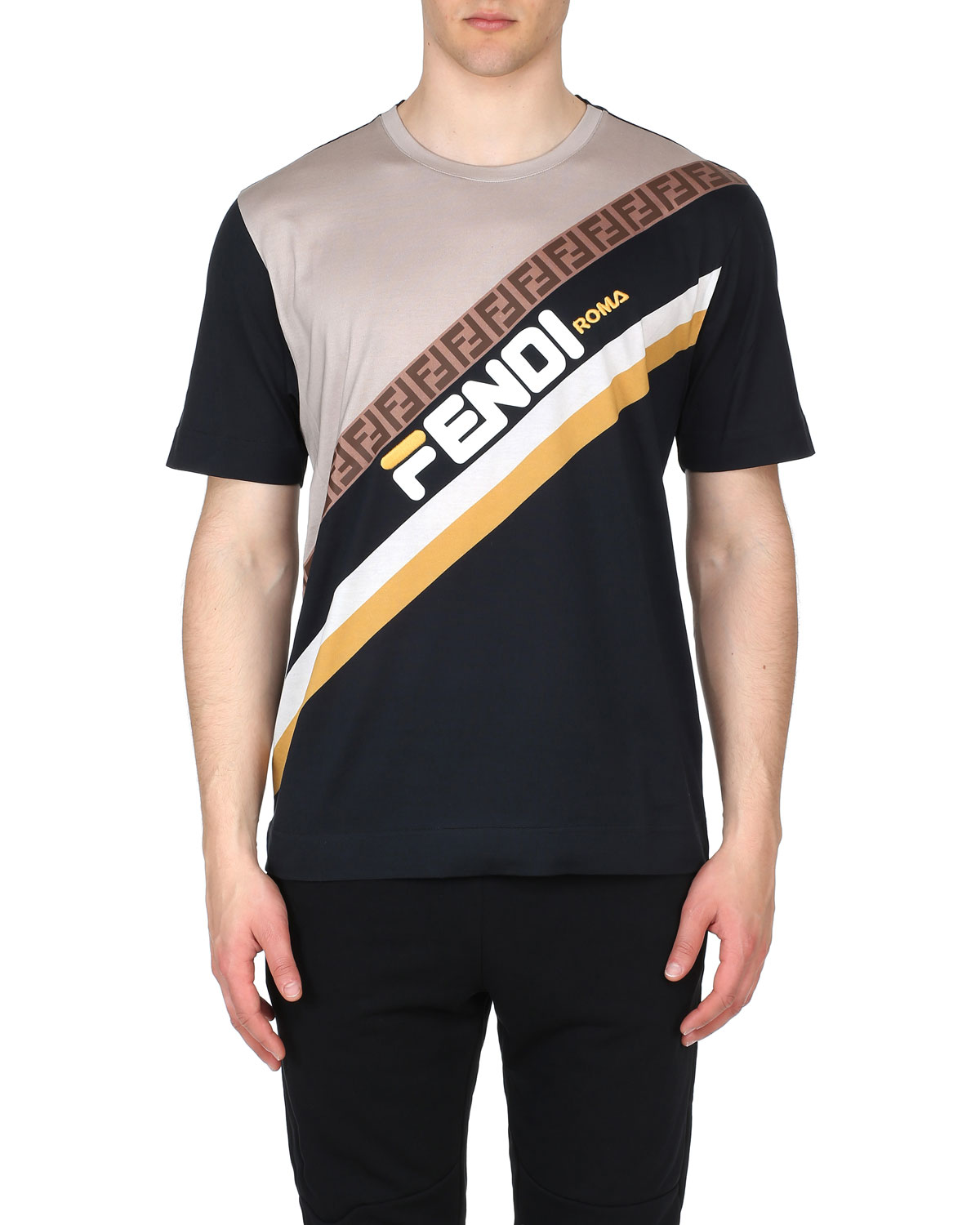 Fendi Men s Fendi Mania Stripe Oversized Pattern T-Shirt  0fd9912eff7a1