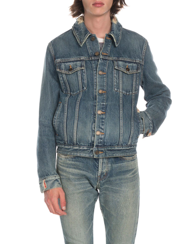 Saint Laurent Men s Wash Distressed Denim Jacket  670168440