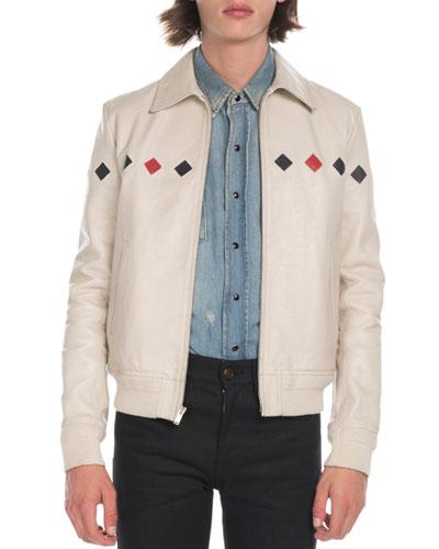 Men's Teddy Diamond-Detail Leather Jacket