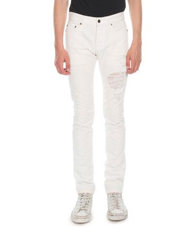 Men's Distressed Cotton Jeans