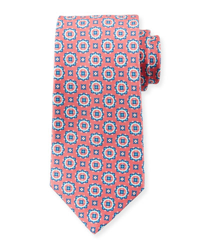 Men's Circle Medallions Tie, Pink