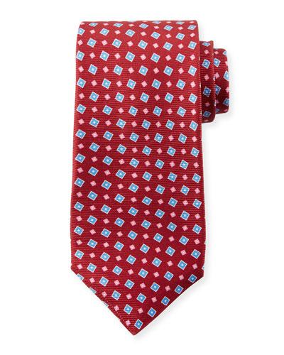 Men's Tilted Squares Tie, Red
