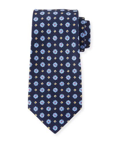 Men's Micro Flower Tie, Navy