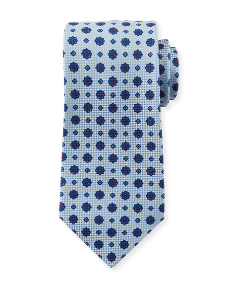 Kiton Men's Micro Flower Tie, White