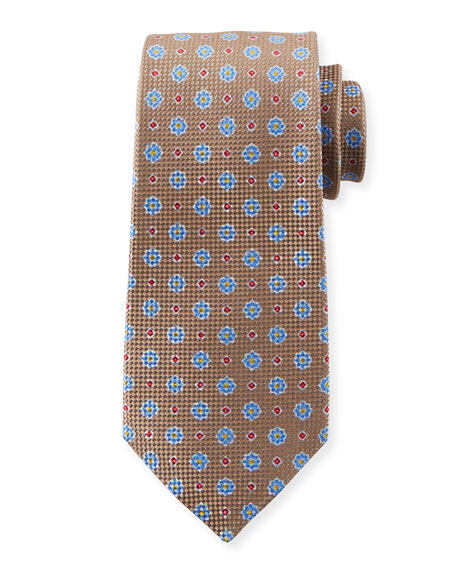 Kiton Men's Micro Flower Tie, Tan