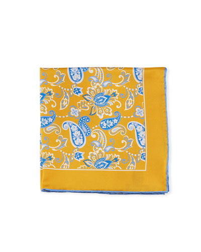 Men's Paisley Pocket Square  Gold