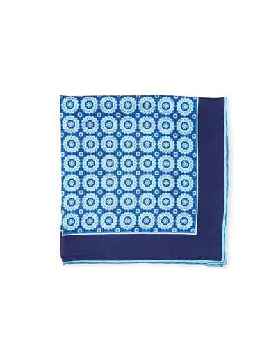Men's Symmetrical Flowers Pocket Square  Blue