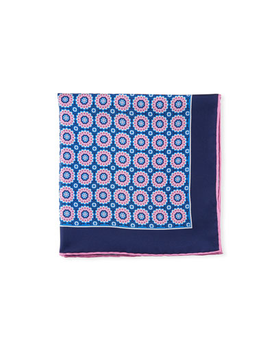 Men's Symmetrical Flowers Pocket Square  Pink