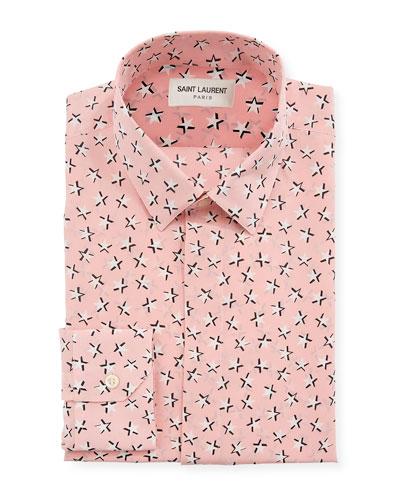 Men's Star-Print Dress Shirt