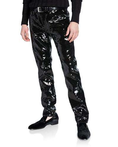 Men's Slim-Leg Sequined Jeans