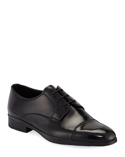 Men's Spazzolato Leather Lace-Up Dress Shoes