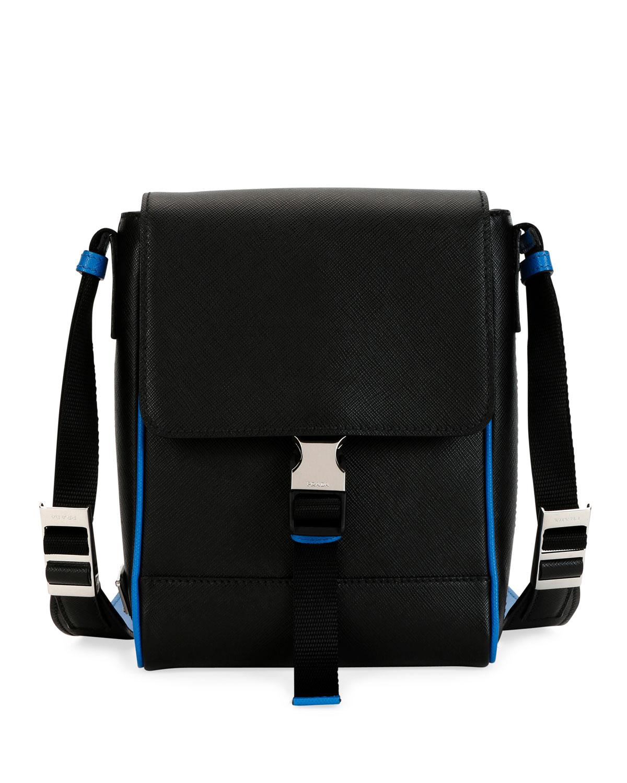 157ef7c3a435 Prada Men's Saffiano Leather Travel Messenger Bag | Neiman Marcus