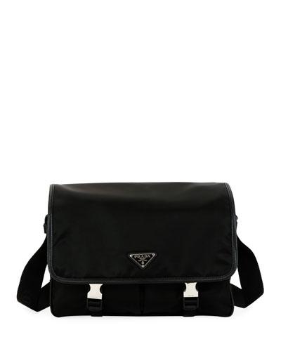 Men's Large Nylon Messenger Bag