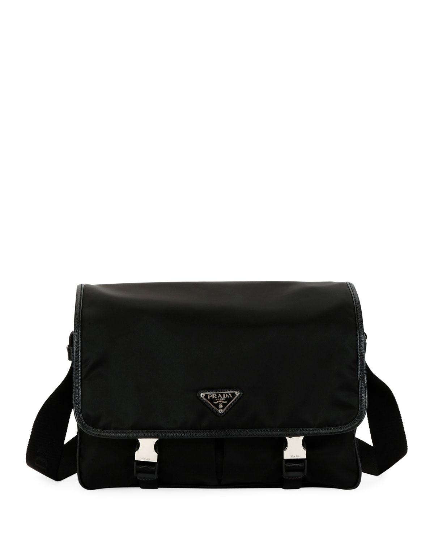 5eb440aaa81 Prada Men s Large Nylon Messenger Bag   Neiman Marcus