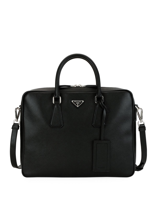 f603a6ff6753 Prada Men's Saffiano Leather Travel Briefcase | Neiman Marcus
